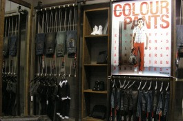 colour pants S/S 2008 in-store poster design display, in Shenzhen shop | British Fashion Retail Brand – Magnum London :: graphical visual merchandising