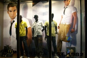 shop VMD window display menswear yellowish collection in Shenzhen shop | British Fashion Retail Brand – Magnum London :: graphical visual merchandising