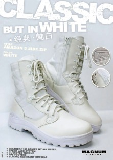 classic white military boots POP design display | British Fashion Retail Brand – Magnum London :: graphical visual merchandising
