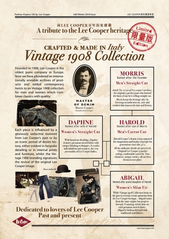 English Point-Of-Purchase | Lee Cooper in China :: retailing packaging design for new premium jeans Vintage 1908 Collection