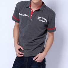 grey polo red trim white embroidery since 1908 master of denim menswear on model | British Fashion Denim Retail Brand – Lee Cooper in China :: LCUK collection fashion graphics
