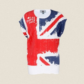 womenswear white oversize sleeveless tee union jack rough raw print flat | British Fashion Denim Retail Brand – Lee Cooper in China :: LCUK collection fashion graphics