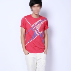 Lee Cooper in China :: LCUK collection fashion graphics :: white blue vintage graphics on coral red