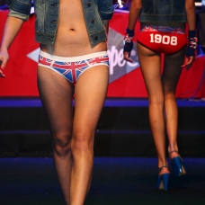 womenswear underwear, union jack pattern, white 1908 on red, on female model in catwalk | British Fashion Denim Retail Brand – Lee Cooper in China :: LCUK collection fashion graphics