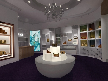 design shop interior rendering, cashier, center display flagship store lightbox fixture cosmatic inspired | Women's Leather Goods Retail Brand :: holistic branding