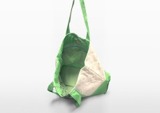 melon green parent bag hanging to show interior design | Green Baby Garden :: series of Upcycling Product Development