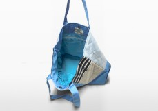 swan blue parent bag hanging to show interior design | Green Baby Garden :: Upcycling Product Development
