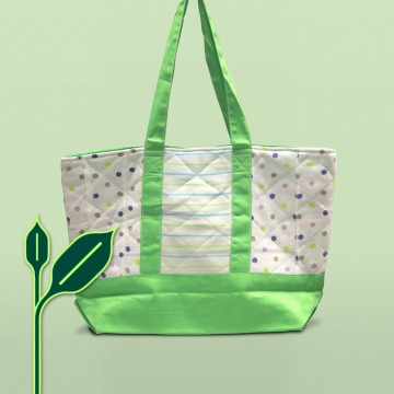 feature pic, green background melon green parent bag, upcycling recycling icon at left bottom | Second-hand Retail Platform – Green Baby Garden :: Upcycling Product Development