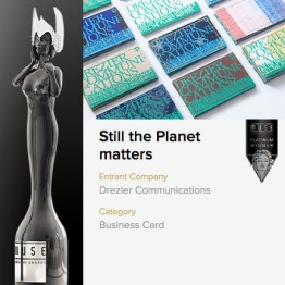 """Muse creative awards platinum winner 2017 – """"Still the Planet matters"""" business card category, designed by Drezier Communications"""
