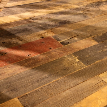 raw recycling wood tiled floor collected from demolition sites in China | British Fashion Denim Retail Brand – Lee Cooper in China :: fixture and furniture for flagship store