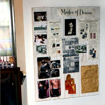 """""""master of denim"""" founder's display board 
