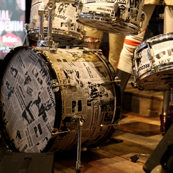 wrapped drum set, black and white brand identity | British Fashion Denim Retail Brand - Lee Cooper in China :: retail graphic and visual merchandising all shops