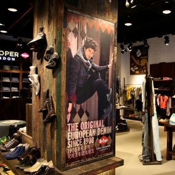 brand image poster, in raw wood frame | British Fashion Denim Retail Brand - Lee Cooper in China :: retail graphic and visual merchandising all shops