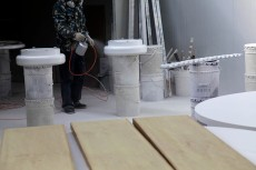 painting woodwork compartment, paint spraying, worker | Leading Retail Renovation Brand – HTHY Group :: Photography of Factory for brand book