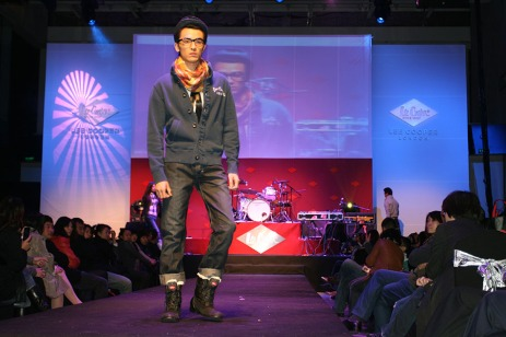 catwalk male model fashion show live in action, in 2010 Blue Monday:Red China fashion show event | British Fashion Denim Retail Brand - Lee Cooper in China :: retailing fashion show and event management