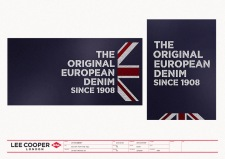 VMP seasonal POP poster design template, Union Jack white chalk types on dark blue blackboard | British Fashion Denim Retail Brand – Lee Cooper in China :: retail design & retailing graphics