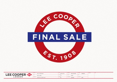 final sale identity used in fall/winter or spring/summer seasonal sales, imitating a British subway tube logo | British Fashion Denim Retail Brand – Lee Cooper in China :: retail design and retailing graphics