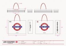 VMD design final sale shopping bag large size, white paper, red handle | British Fashion Denim Retail Brand – Lee Cooper in China :: retail design & retailing graphics