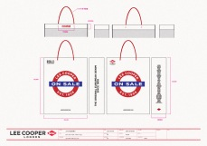 final sale medium white shopping bag red string handle, red blue graphics, UK heritage | British Fashion Denim Retail Brand - Lee Cooper in China :: retail design & retailing graphics