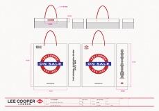 final sale medium white shopping bag red string handle, red blue graphics, UK heritage | British Fashion Denim Retail Brand - Lee Cooper in China :: retail design & retailing graphics