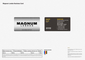 new logo new business card, metallic feel stationery, new identity revamp design | British Fashion Retail Brand – Magnum London :: holistic branding