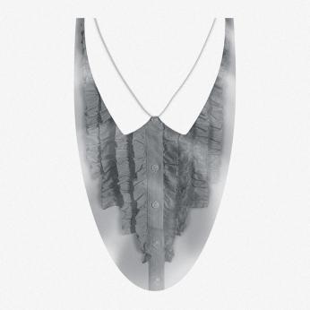 women fake shirt chest ruffles grey print graphics, grey buttons, white collars | British Fashion Retail Brand - Magnum London :: womenswear fashion graphics