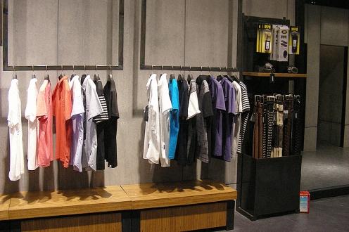 black raw steel accessories shelf, belts in use | British Fashion Retail Brand – Magnum London :: Visual Merchandising