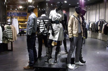 black steel wheeled raised platform, for mannequins in-store group display VMD | British Fashion Retail Brand – Magnum London :: Visual Merchandising