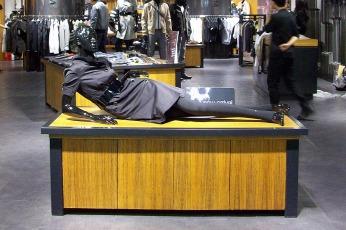black female womenswear mannequin, lying position | British Fashion Retail Brand – Magnum London :: Visual Merchandising