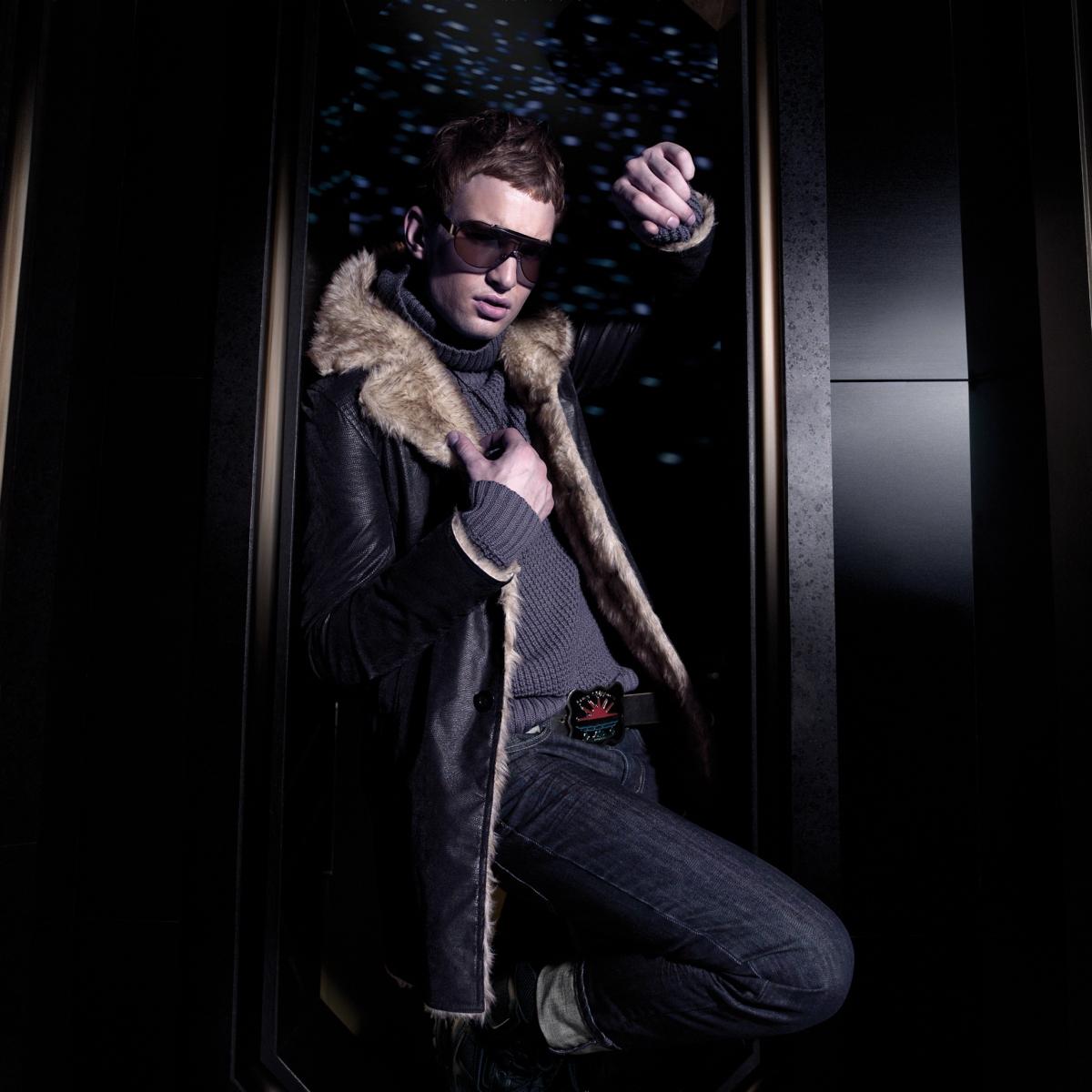 menswear, turtle-neck grey knit, fur trim leather coat, jeans | British Fashion Retail Brand - Magnum London :: 2008 FW collection lookbook