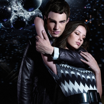 menswear womenswear, black leather blazer, grey white pattern knit mirror ball dance stage hug | British Fashion Retail Brand - Magnum London :: 2008 FW collection lookbook