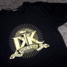 brand premium tee shirt, front, huge event logo, gold foil | British Fashion Retail Brand - Magnum London :: China premiere fashion show 2007