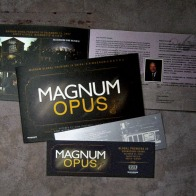 event ticket (front and back), event brochure (front and inside) | British Fashion Retail Brand – Magnum London :: Event Magnum Opus 2008