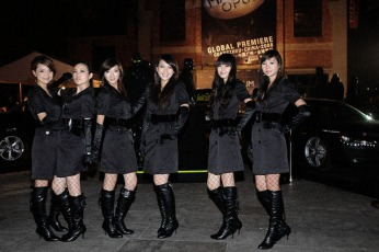 escort model girls in black trench coat, venue outside assembly square | Magnum London :: Event Magnum Opus 2008