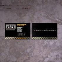 old brand identity logo on obsolete business card front and back before revamp design | British Tactical Apparel Wholesale Brand – Magnum Essential Equipment :: branding