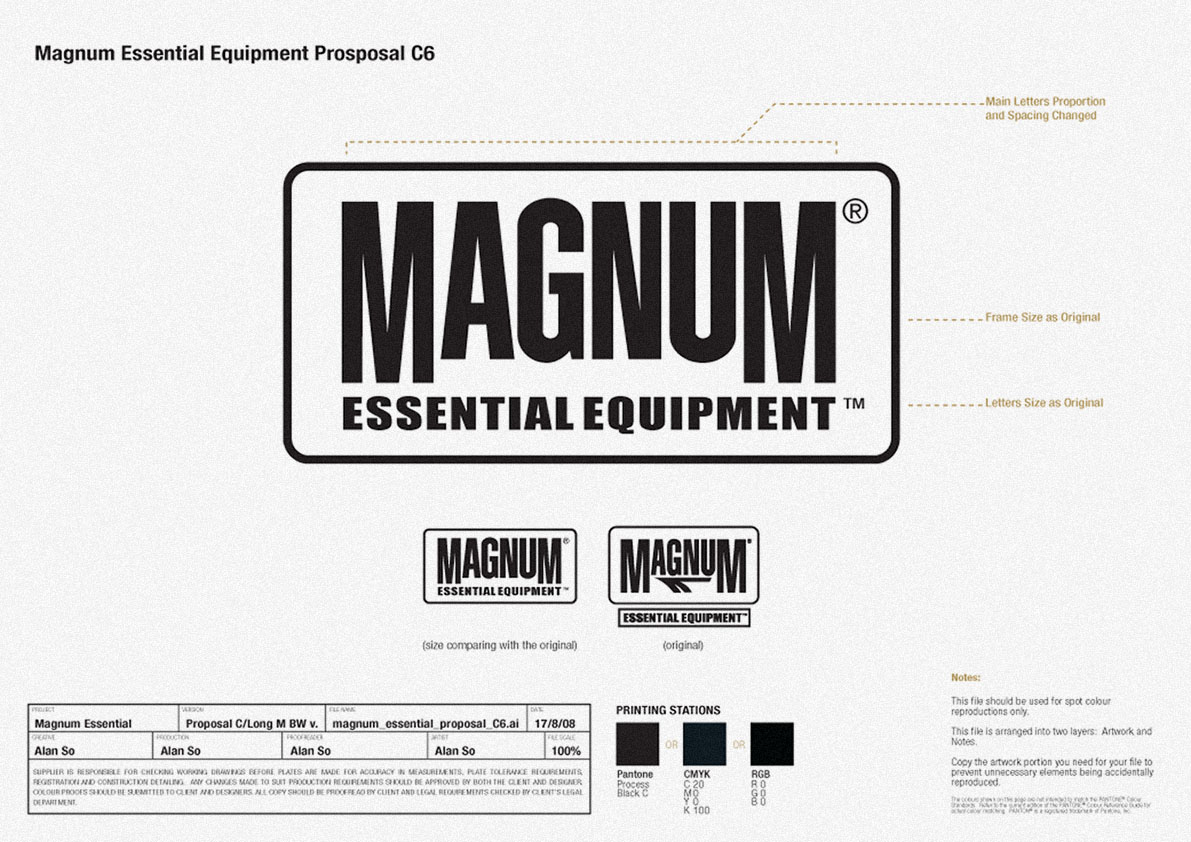 black and white version outlined revamped identity, before and after, new design and old logo | British Tactical Apparel Wholesale Brand – Magnum Essential Equipment :: branding