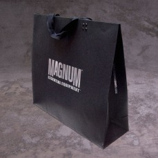 retail shopping bag large size metallic silver foil on black, new identity | British Tactical Apparel Wholesale Brand – Magnum Essential Equipment :: branding