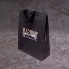 medium size shopping bad retail black cardboard silver foil logo, new identity | British Tactical Apparel Wholesale Brand – Magnum Essential Equipment :: branding