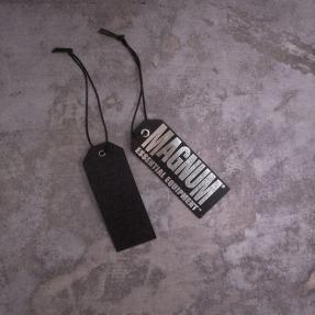 retail hangtag product tag metallic foil on black cardboard | British Tactical Apparel Wholesale Brand – Magnum Essential Equipment :: branding