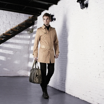 khakis trench coat, gold boston bag | British Fashion Retail Brand - Magnum London :: style lookbook 2008 spring/summer collection