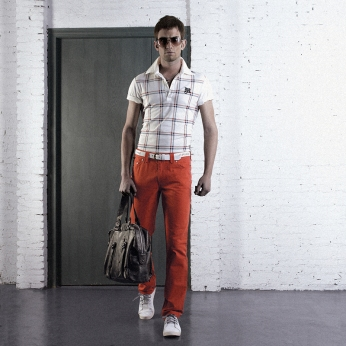 white checker polo shirt, red colour pants, checker polo, leather boston bag | British Fashion Retail Brand - Magnum London :: style lookbook 2008 spring/summer collection