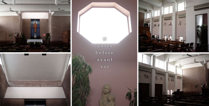 Ricci Hall Chapel :: revamp with stained glass design (before)