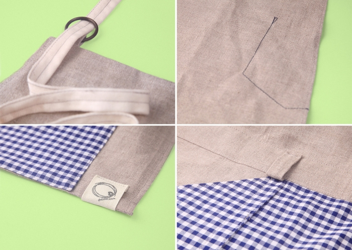details view x 4, linen fabric, kindergarten inspired accessories merchandising, styling, uniform design, apron, blue white gingham check, zakka | Art Space with Vegetarian Café in Hong Kong : : Retail Identity and Zakka Creation