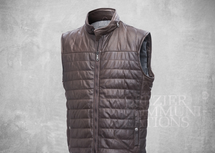 brown stand collar vest normal body length zipped men's wear on cement background retouched colour managment styling | Garment Merchandising Company in Hong Kong : : Styling and Imaging of Apparel Made in and Imported from Italy Reselling through e-Commerce
