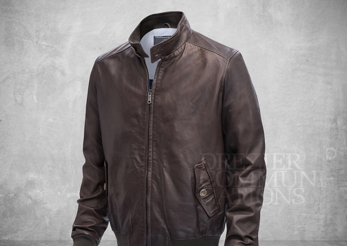 brown stand collar jacket normal body length zipped men's wear on cement background retouched colour managment styling | Garment Merchandising Company in Hong Kong : : Styling and Imaging of Apparel Made in and Imported from Italy Reselling through e-Commerce