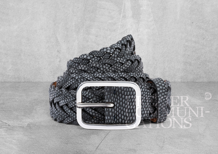 men's laced belt grey pattern circle spiral table top flat, accessories photography on cement background styling art direction retouched colour management | Garment Merchandising Company in Hong Kong : : Styling and Imaging of Apparel Made in and Imported from Italy Reselling through e-Commerce
