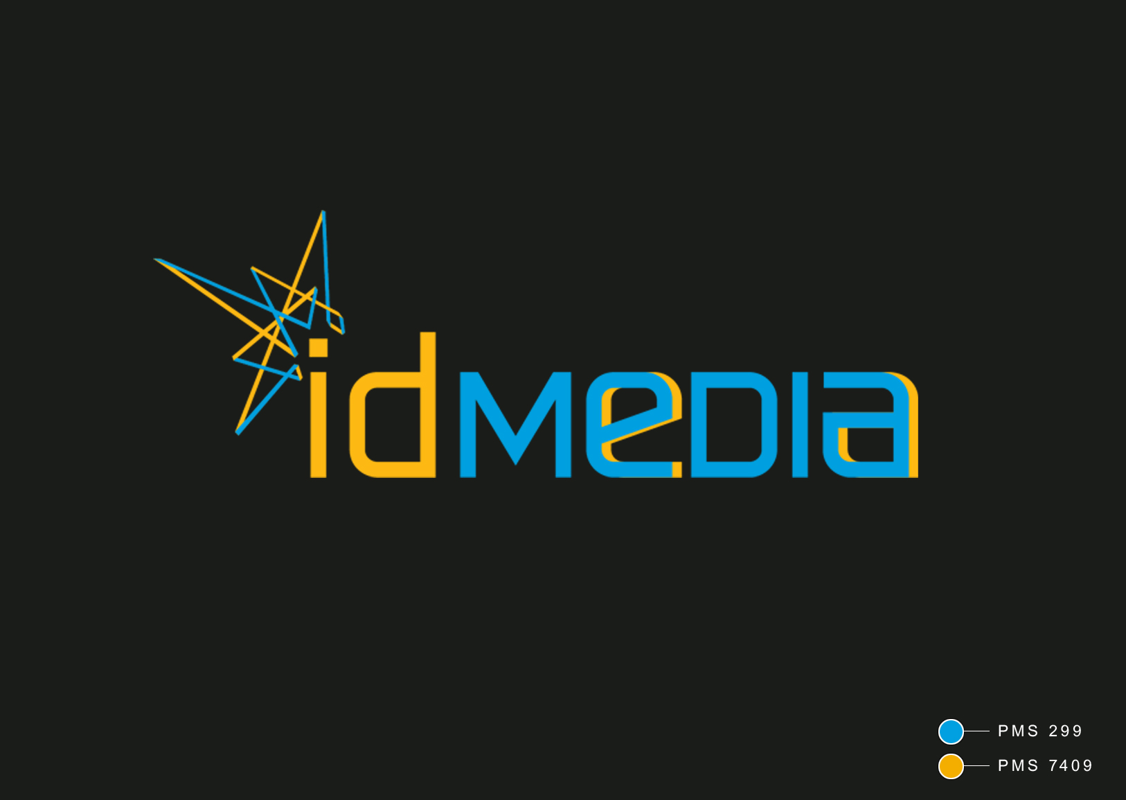 A leading Asian Digital Marketing Agency Brand based in Hong Kong and office in South Korea :: Identity Revamp & New Business Card Design :: main, first choice, logo on black background, PMS 299 and 7409, spark of idea behind all task promoting on media